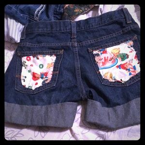 Upcycled jean shorts with pocket covers